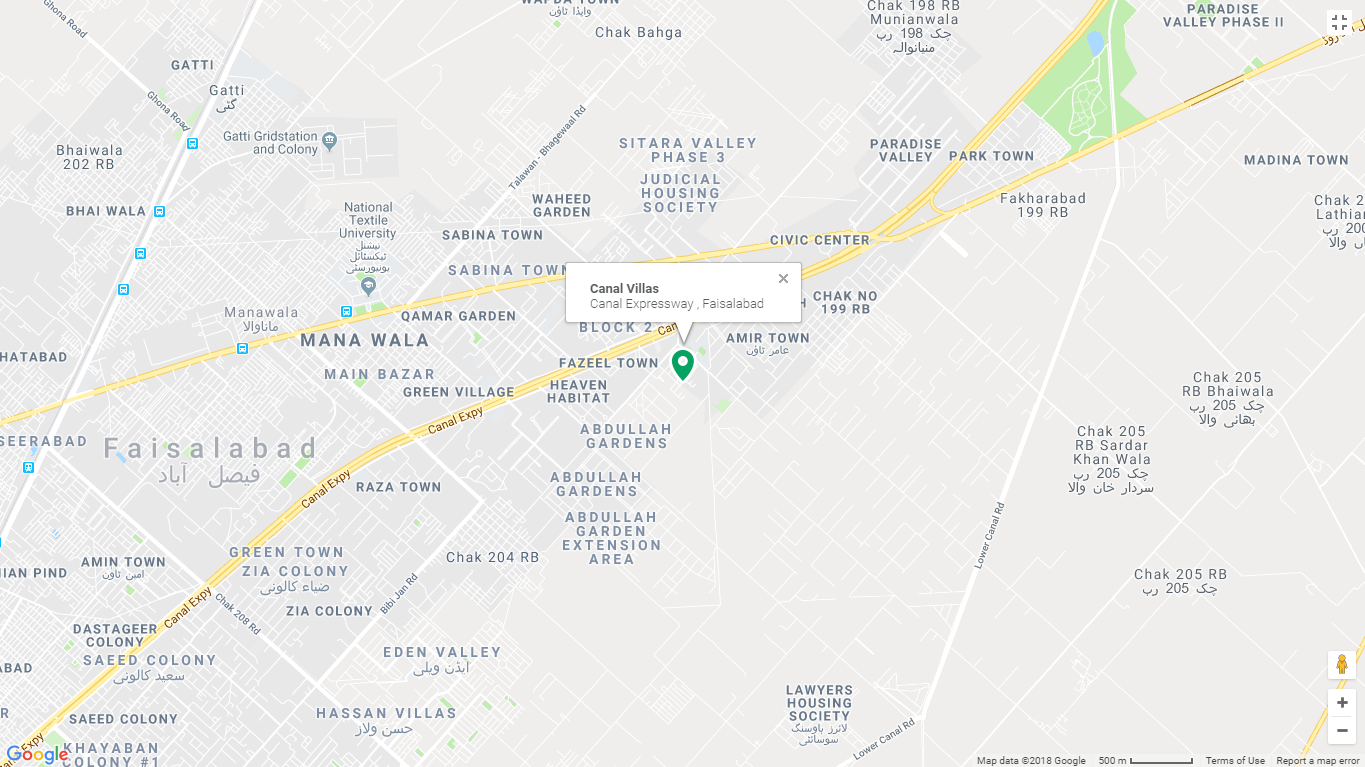 Canal Villas Faisalabad Location Map